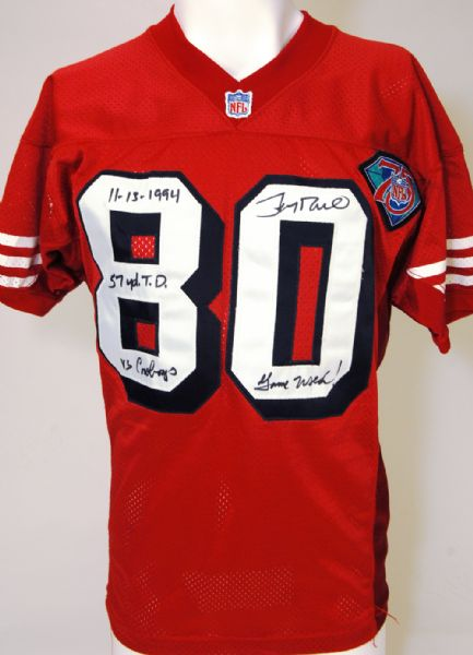 best sneakers 43db0 3ec2c Lot Detail - 1994 Jerry Rice Signed and Inscribed Game Used ...