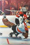 Bernie Parent Save Jeffrey Rubin Original Art on Canvas Stretched to Wooden Panels (Spectrum Archives from Comcast Charities)