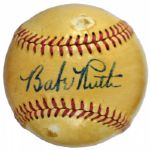 Exceptional Babe Ruth Single-Signed American League Baseball with Mint Signature (PSA and JSA)