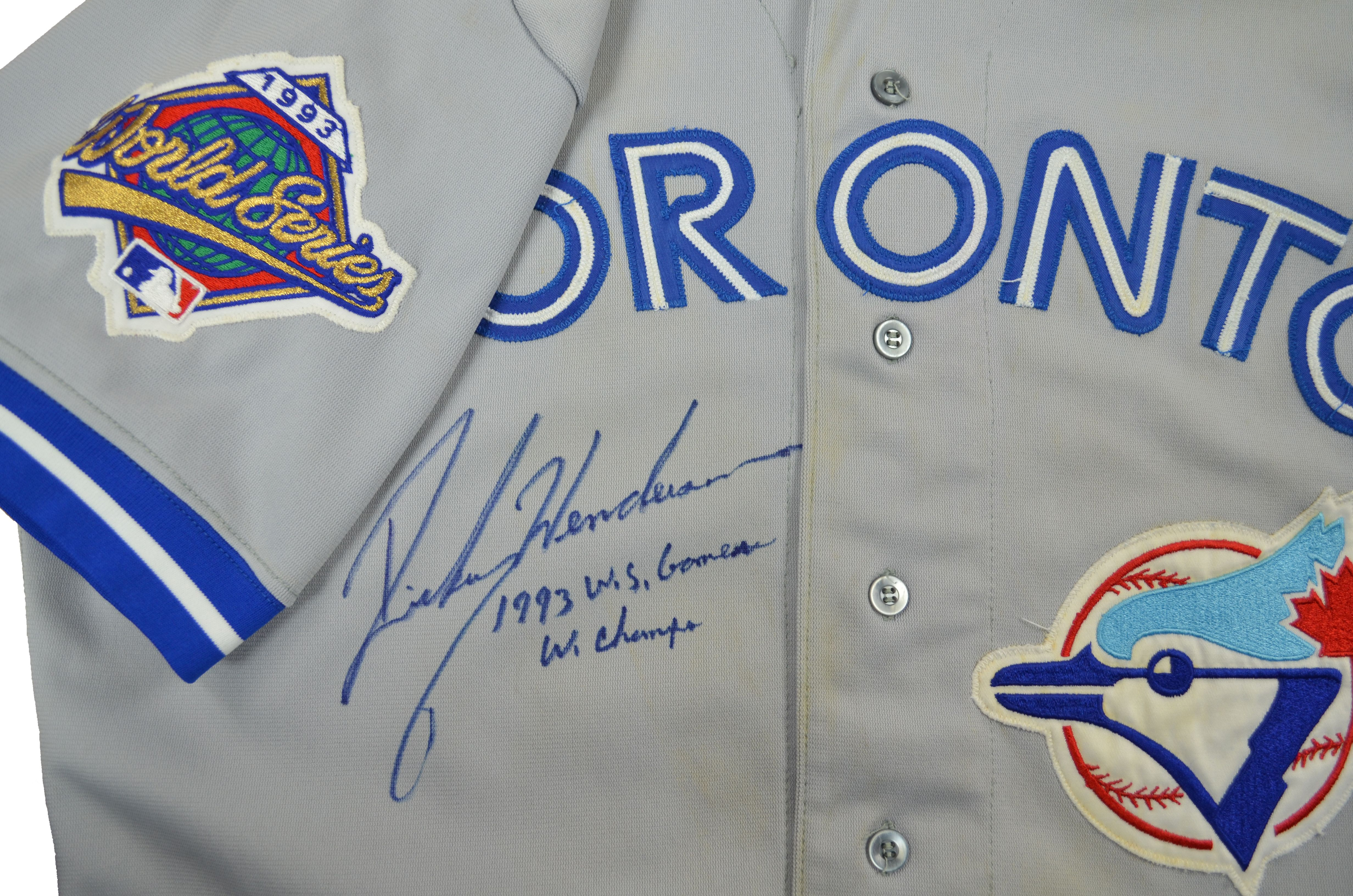 fdacd450061cb Lot Detail - 1993 Rickey Henderson World Series Game Used and Signed Toronto  Blue Jays Jersey (MEARS A-10)