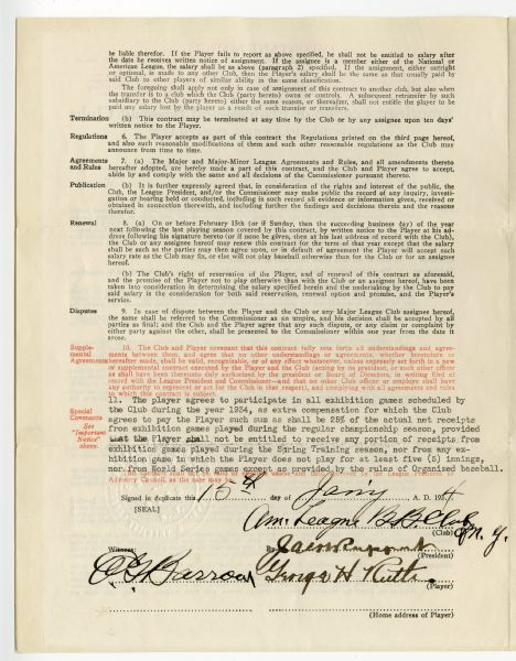 Lot Detail 1934 Babe Ruth Signed And Fully Executed Contract