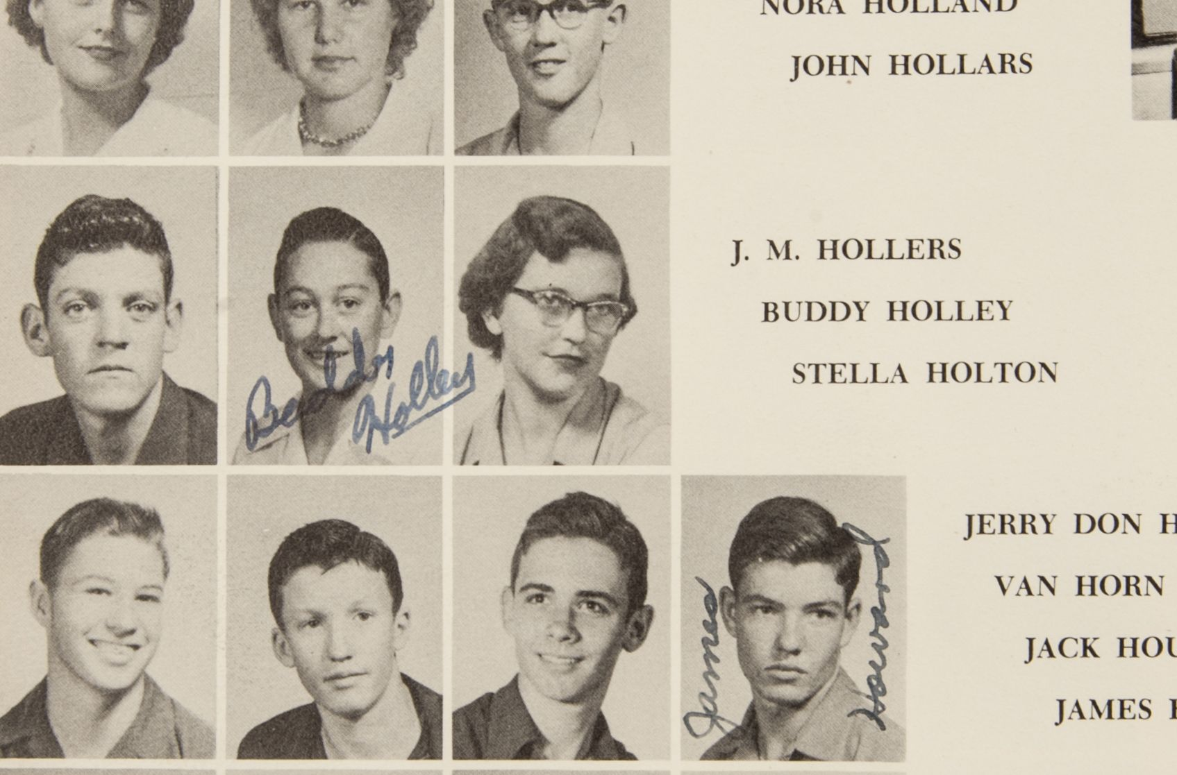 lot detail buddy holly vintage signed and inscribed x buddy holly vintage signed and inscribed 2x original junior year high school yearbook