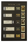 1936 Baseball Hall of Fame Inaugural Class Signed Bank Checks Framed Gallery (5 Items) – Including Cobb, Johnson, Mathewson, Ruth and Wagner