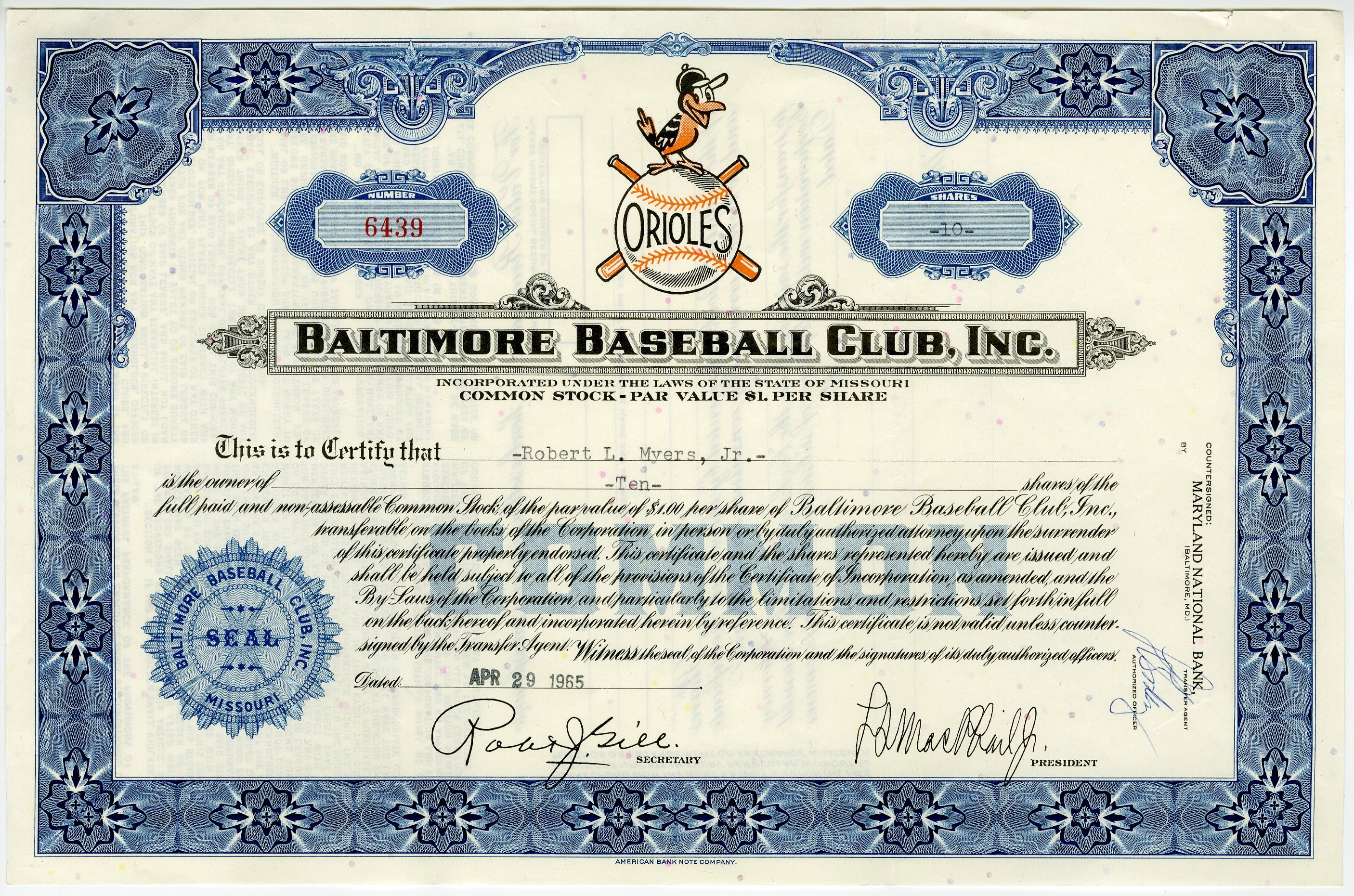 Lot Detail 1965 Baltimore Orioles Stock Certificate