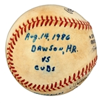 Andre Dawsons Game Used Home Run #220  Baseball - Expos All Time Record (Dawson LOA)