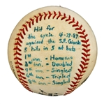 Andre Dawsons Hit for the Cycle Last Hit Game Used Baseball (Dawson LOA)