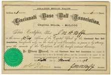 Historic 1878 Cincinnati Red Stockings Baseball Association Stock Certificate  First ever Certificate!