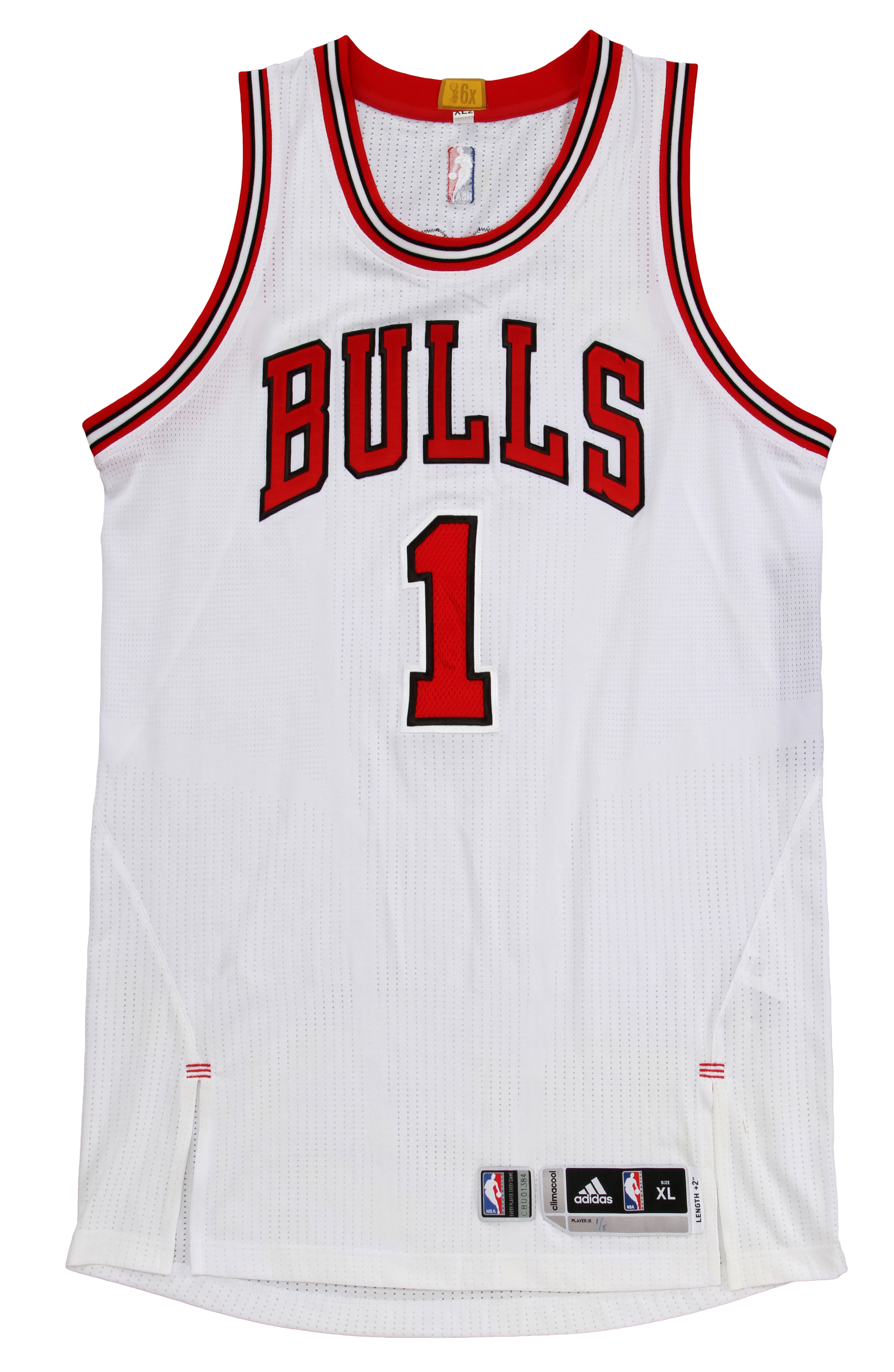 lot detail 2015 derrick rose game used chicago bulls home jersey  bulls loa
