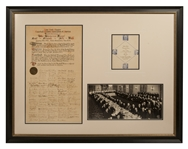 1941 50th Anniversary of the Hot Dog Testimonial Proclamation Signed By Babe Ruth,Ford Frick,Ed Barrow,Joe McCarthy and Over 100 Others