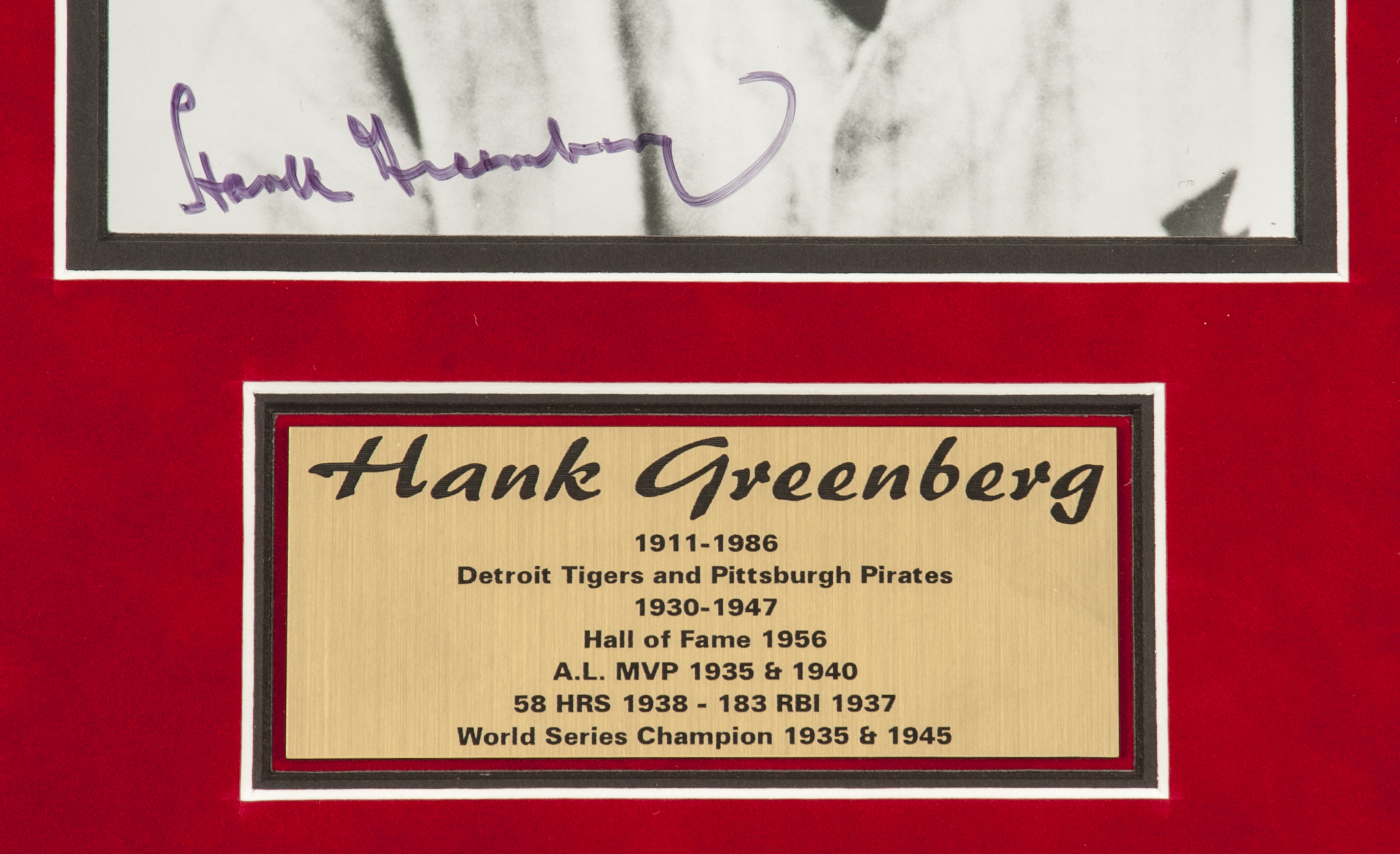 hank greenberg signed and framed 8 x 10 bw photo in 14