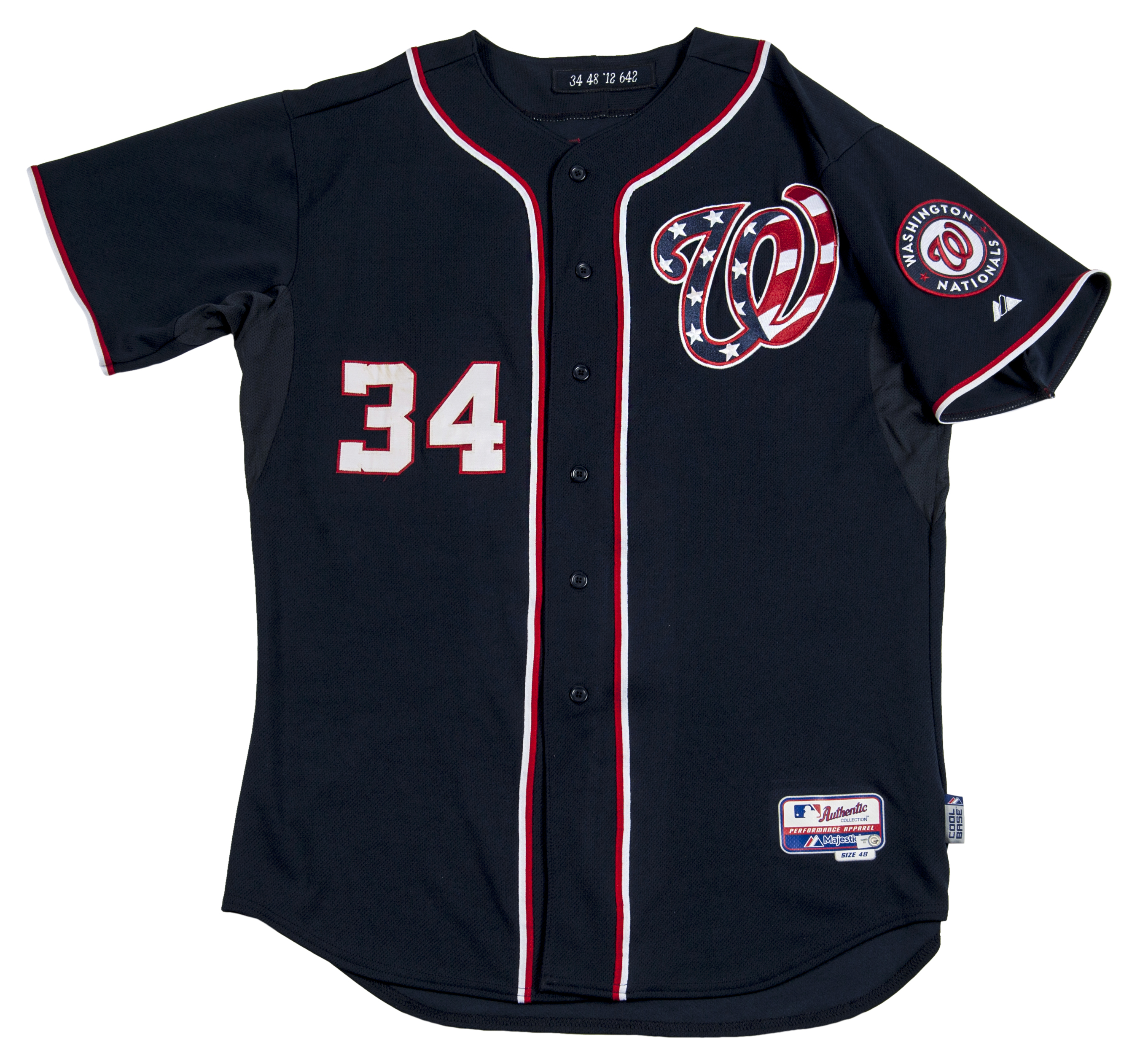9d904cf3d ... Lot Detail - 2012 Game Used Bryce Harper Rookie Washington Nationals  Road Jersey (91112) ...