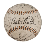 1931 New York Yankees Team Signed Baseball (18 Signatures) - Including Ruth, Gehrig and Gomez-Partially Traced (PSA/DNA)