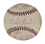 1929-31 Multi-Signed A.L.  Baseball With 10 Signatures Including Ruth and Gehrig (PSA/DNA)