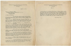 "1920 Protest Letter and Game Program (2 Items) - For Heated Rules Controversy Involving Babe Ruth and ""Shoeless Joe"" Jackson"