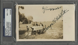 Babe Ruth and Jacob Ruppert Dual-Signed Real-Photo Postcard - PSA/DNA NM+ 7.5