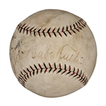 Babe Ruth and Lou Gehrig Dual Signed Official N.L. Baseball (PSA/DNA EX+ 5.5)