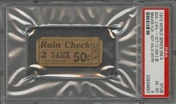 1915 World Series Game 4 Red Sox vs Athletics Ticket Stub - PSA EX-MT 6 (Babe Ruth W.S. Number 1 of 10)