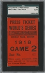 1918 World Series Ticket game 5 (Game 2 @ Fenway) Curse of the Bambino Ruth 3 of 10   Rare 24,694 att.