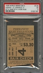 "1926 World Series Game 4 Yankees vs Cardinals Ticket Stub - ""Babe Ruth 3 Home Runs"" - PSA EX 5 (Babe Ruth W.S. Number 7 of 10)"