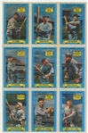 "1972 Kelloggs ""All-Time Baseball Greats"" Uncut Sheet (9 Cards) - Featuring Ruth, Gehrig, Cobb, Young and Wagner"
