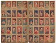 1926 W512 Uncut Strip Card Sheets (2) - Both Featuring Babe Ruth