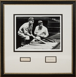 Babe Ruth and Lou Gehrig Framed Photo Display with Signed Cuts (JSA & PSA/DNA)