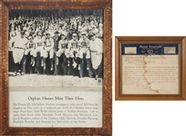 "1933 ""Babe Ruth and the Heroic Orphans"" Original Telegram Correspondence with Framed Photo Display (2 Items)"