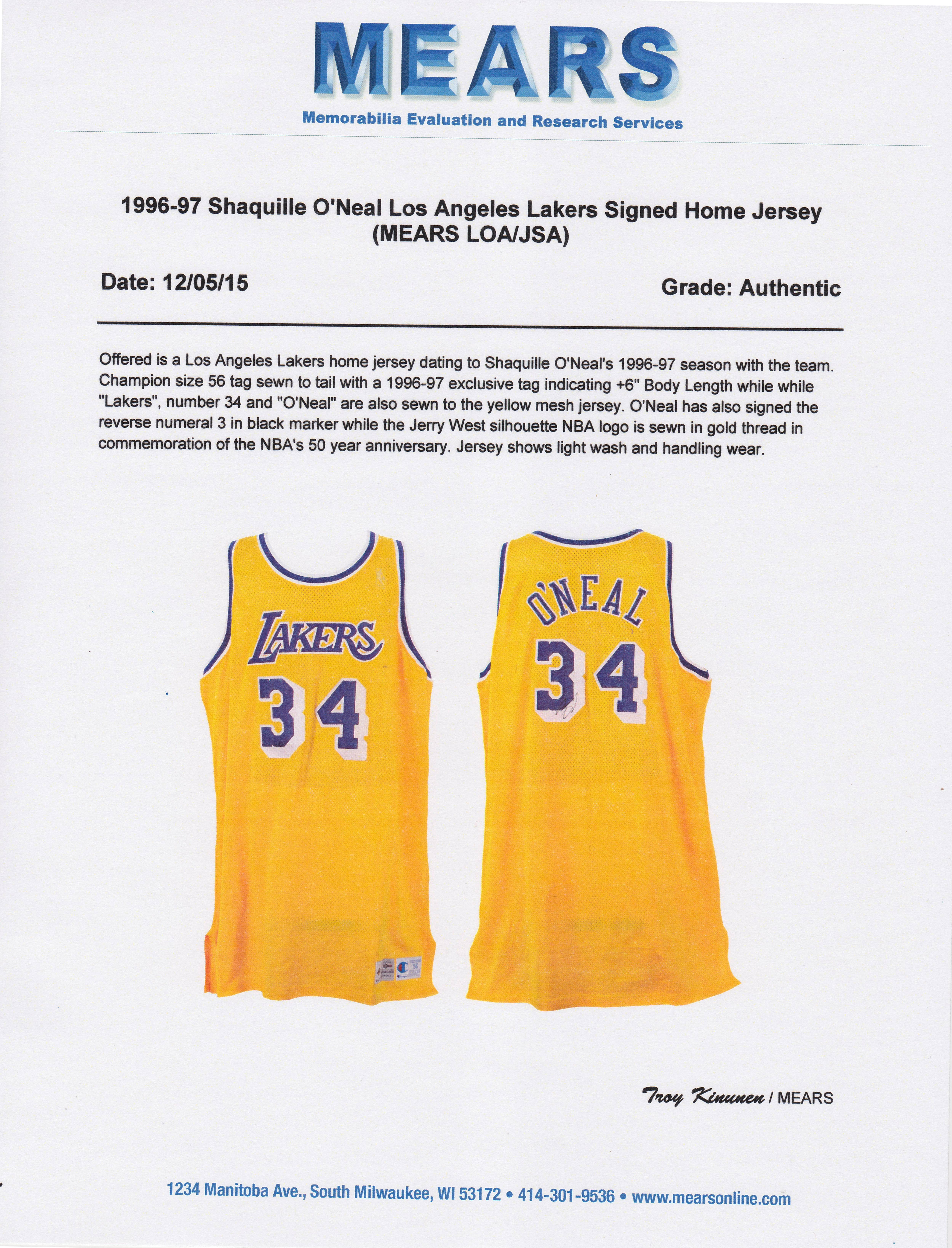 4bc4ad937 Lot Detail - 1996-1997 Shaquille O Neal Game Used and Signed Los Angeles  Lakers Home Jersey (MEARS   JSA)