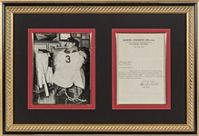 1942 Babe Ruth Signed Typewritten Letter with Photograph in Framed Display (JSA)