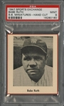 1947 W602 Sports Exchange Babe Ruth, Hand Cut - PSA MINT 9 - The Finest PSA-Graded Example!