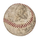 "1943 ""Yanklands vs. Cloudbusters"" War Bond Fundraiser Game Used and Multi-Signed Baseball (30 Signatures) - Including Babe Ruth, Ted Williams and Mickey Mantle (JSA and Mears)"