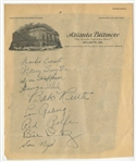1934 Letter Signed By Ruth, Gehrig and Others (PSA/DNA)