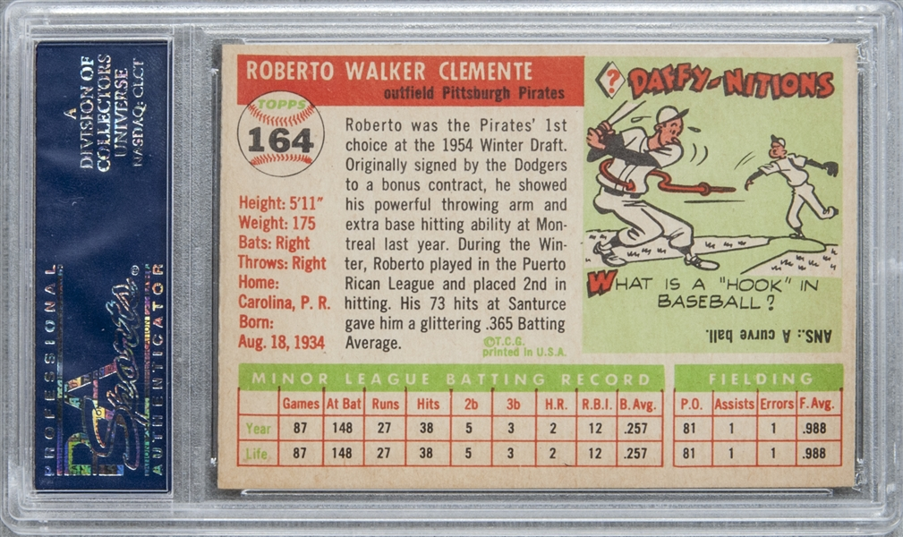 Lot Detail 1955 Topps 164 Roberto Clemente Rookie Card