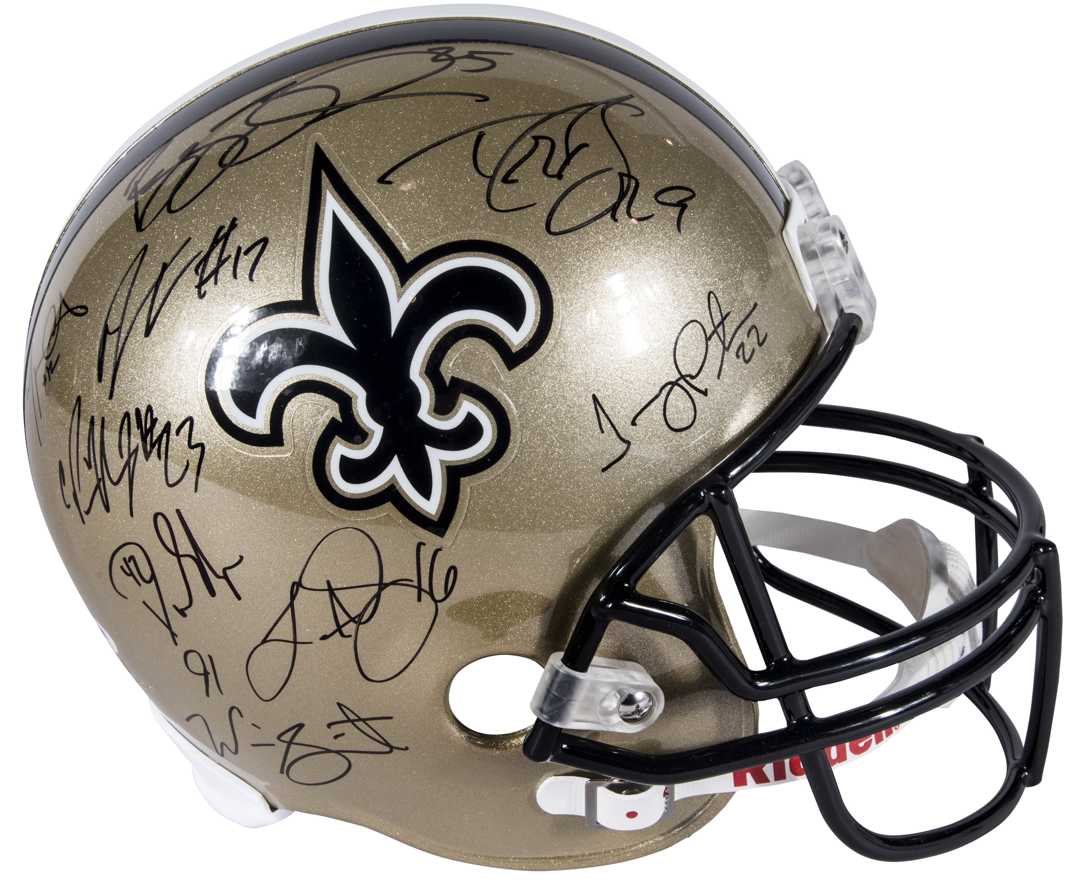 5a73ab52 2009-10 New Orleans Saints Team Signed Helmet with 9 Signatures Including  Brees, Bush & Colston (PSA/DNA)