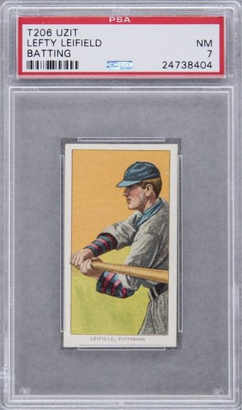 1909-11 T206 White Border Lefty Leifield, Batting, Rare Uzit Back – PSA NM 7 1 of 1!