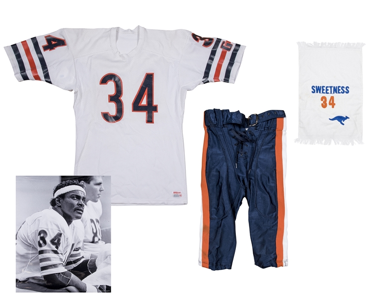 1984-87 Walter Payton Game Used Chicago Bears Road Uniform - Jersey, Pants and Sweetness Towel (MEARS A10, Bears Equipment Manager LOA)