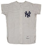 1961 Yogi Berra Game Used World Series New York Yankees Home Pinstripe Jersey Worn For Last Ever World Series Home Run! Photo Matched to Game 2 (Berra LOA, Resolution Photomatch& MEARS)
