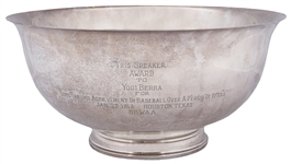 1963 Tris Speaker Silver Bowl Award Presented To Yogi Berra By The Houston Chapter Of The Baseball Writers Of America Sportswriters (Berra LOA)