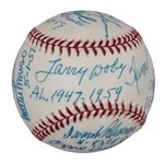 Jackie Robinson 50th Anniversary Multi-Signed and Inscribed Baseball Integration Debuts OAL Budig Baseball With 12 Signatures Including Doby, Banks and Irvin (PSA/DNA)