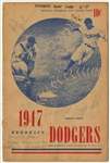 1947 Ebbets Field Scored Program Signed By Jackie Robinson and Red Barber (PSA/DNA)