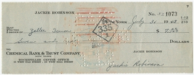Jackie Robinson Hand Written and Signed Canceled Check Dated 7/31/48 (JSA)