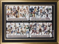 """Super Heroes of Sports"" Multi-Signed Lithograph signed by 65 (MLB, NFL, NBA & NHL) by Artist George Bungarda (Beckett PreCert)"