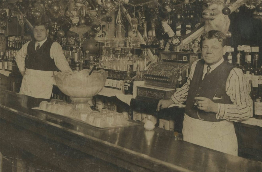 "Rare and Historic 1915 Babe Ruth and Father Type I Original Mounted Photo in Their Baltimore Tavern, ""Ruths Cafe"" From The Babe Ruth Birthplace Museum (PSA/DNA)"