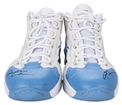 2006 Allen Iverson Game Used and Signed Blue and White Reebok Sneakers (PSA/DNA & MEARS)