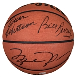 Hall of Famers Multi-Signed Basketball Signed by 5 Including Jordan, Russell, Bird, Johnson and Robertson - LE 30/100 (UDA & PSA/DNA)