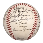 Incredible High Grade 1950 Brooklyn Dodgers Team Signed ONL Frick Baseball With 25 Signatures Including Robinson (Twice) and Rickey (JSA, PSA/DNA  & Beckett Mint 9)