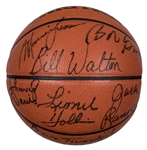 1976-77 Portland Trail Blazers NBA Champion Team Signed Basketball With 7 Signatures Including Ramsay, Lucas and Walton (PSA/DNA)
