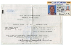 Duke Sniders California Driver License and Signed DMV Documents (Beckett)