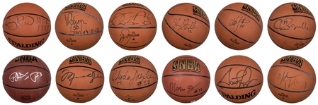 1992 Barcelona Olympics Dream Team Collection Of Single Signed Basketballs Including All 12 Members (Steiner, JSA and PSA/DNA)