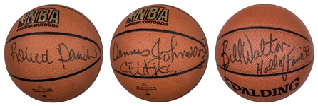 1985-86 Boston Celtics NBA Champions Single Signed Collection of (3) Basketballs Including Parrish, Johnson and Walton (JSA)